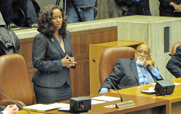 Pressley explains what Turner has meant to the city and to her, before turning to him to say she would vote to expel him