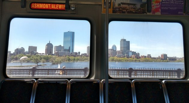 View across the Charles towards the Back Bay from the Red Line on the Longfellow Bridge