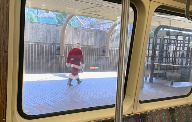 Santa Claus at Green Street on the Orange Line