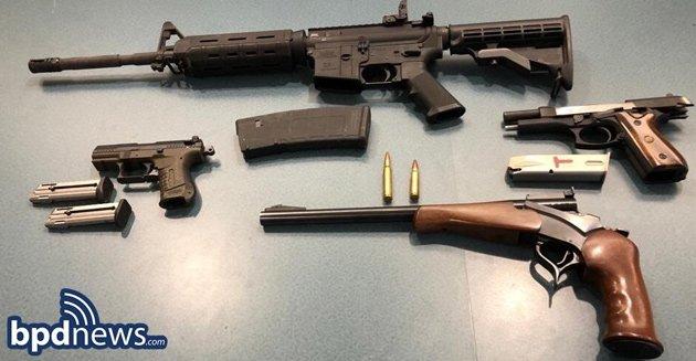 Seized guns an ammunition