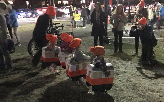 Small Orange Line cars at Jamaica Plain lantern festival