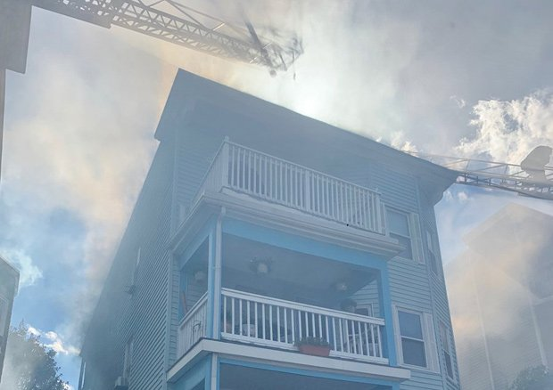 439 Quincy St. in Dorchester on fire