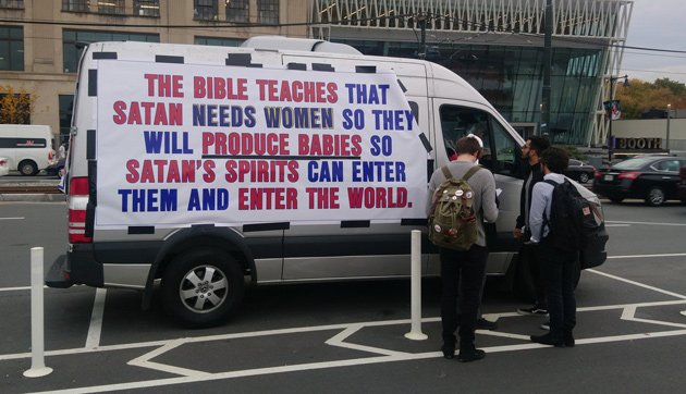 Van warning against Satan and women driving around Boston