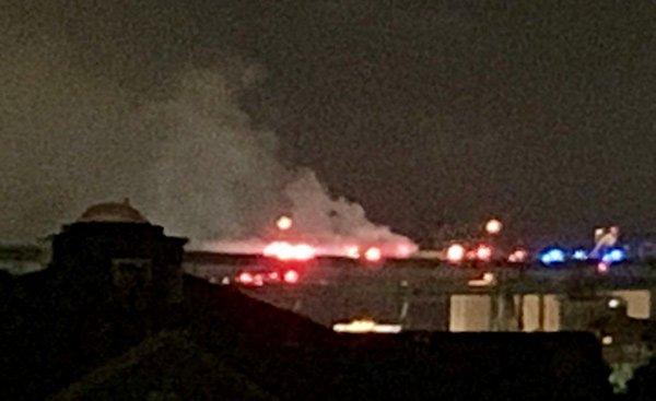 Smoke rising from Tobin car fire