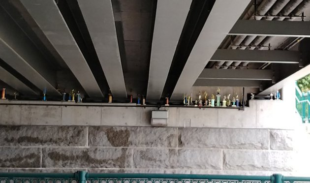 Overpass with trophies on Memorial Drive