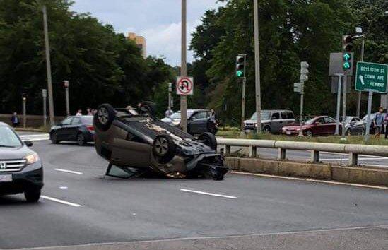 Rolld over car at Bowker Overpass