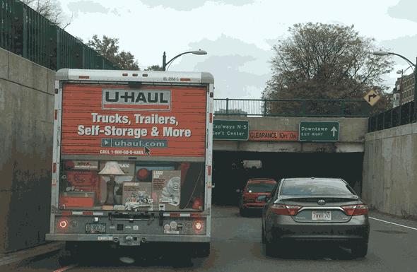 U-Haul truck on Storrow Drive