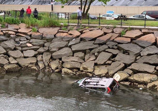 Volvo in water off Terminal Street in Charlestown
