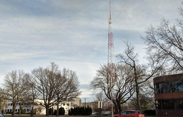 Current WBZ studios, old antenna, site of new building