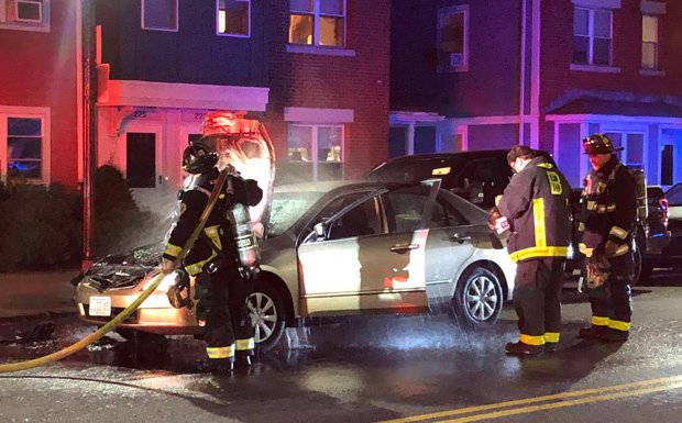 Car was on fire in South Boston; firefighters put it out