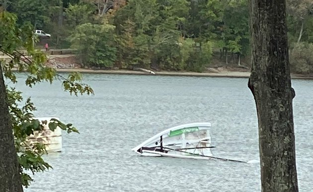 Jamaica Pond sailboat knocked over by the wind