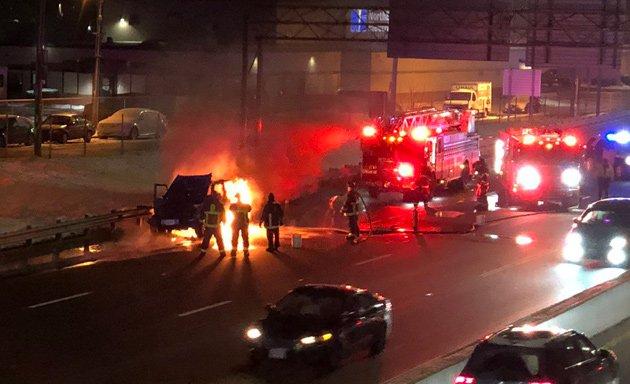 Jeep on fire on I-93