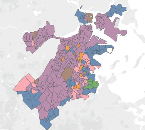 Map showing at-large winners in Boston precincts