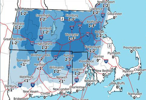 Snow map for Massachusetts