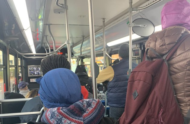 Crowded 222 bus this morning