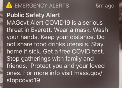 Copy of the alert, warning people to wear a mask, stay distant and don't share utensils