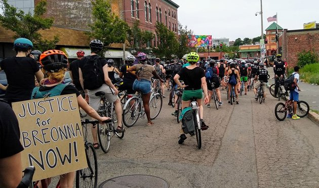 Bicyclists for justice in Grove Hall