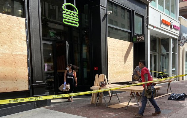 Shake Shack being boarded up