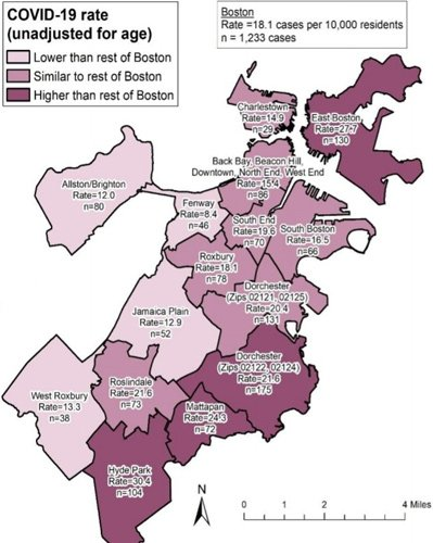 Map of Boston showing Covid-19 rates per neighborhood