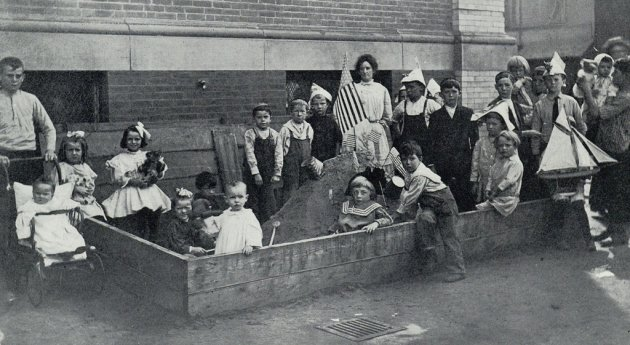 Kids in an unfinished sandbox