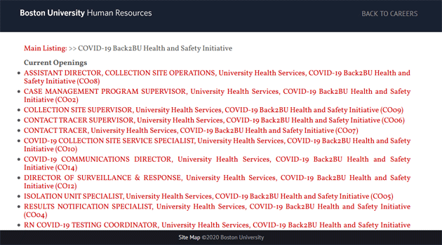Listing of Covid-19-related jobs at Boston University