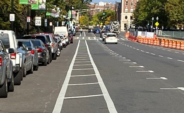 Stripes are down for new bike lane, parking spots on Charles Street