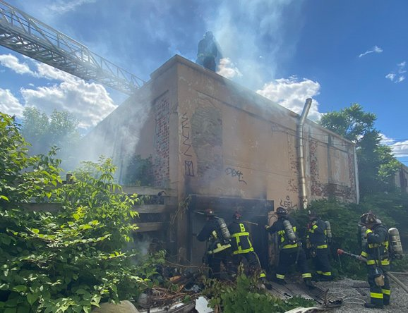 Boston firefighters at Massachusetts Avenue fire