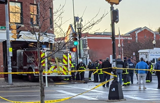 Firetruck inside Codman Square Bank of America