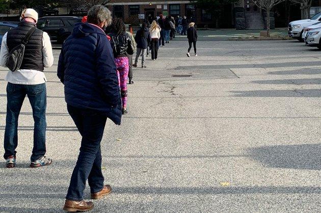 Line at the Conley School on Poplar Street in Roslindale