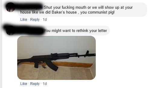 Threatening messages on Facebook, one a picture of a rifle