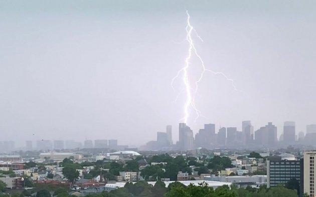 Lightning hitting downtown Boston
