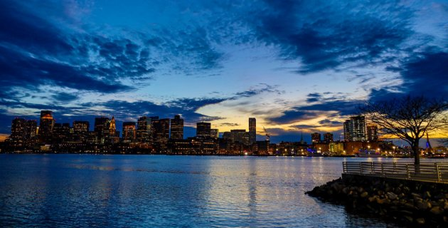Sunset over Boston Harbor and downtown Boston