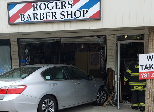 Car into barber shop in Sharon