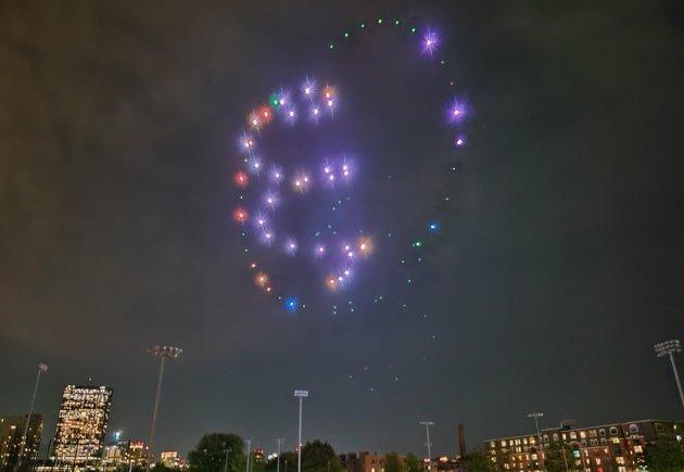 Lit drones over Northeastern