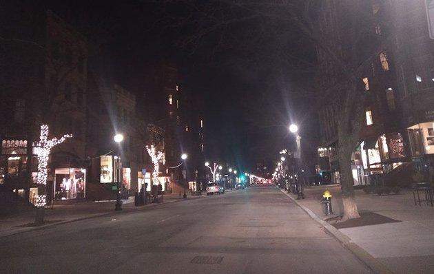 Empty Newbury Street