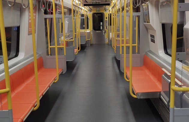 An empty Orange Line car