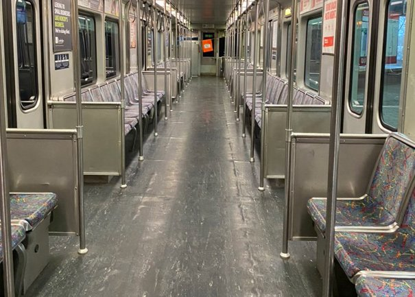 Just one person on a Red Line car at 7 a.m. - the photographer