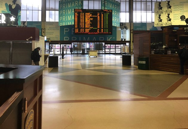 South Station at 8:05 a.m.
