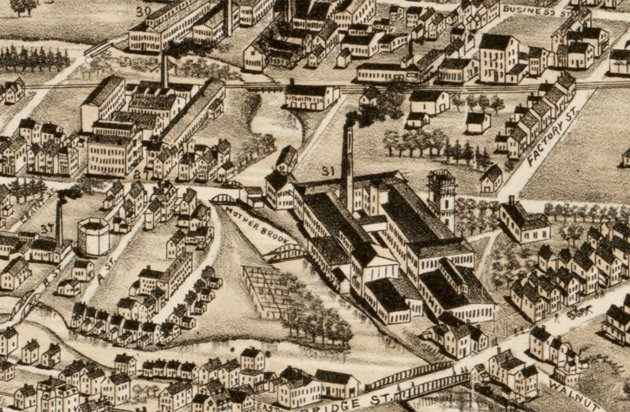 Factories along the Mother Brook in 1890