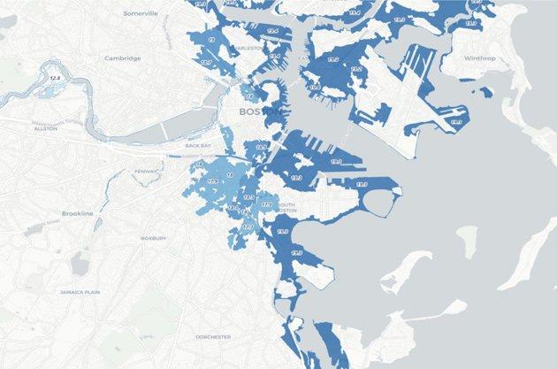 Boston sea-water flood zones