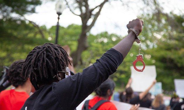Protester at Frankling Park