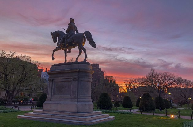 Sunset over the Public Garden and George Washington