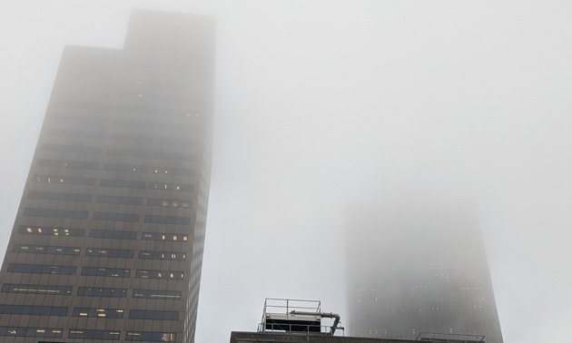 Fog over downtown Boston