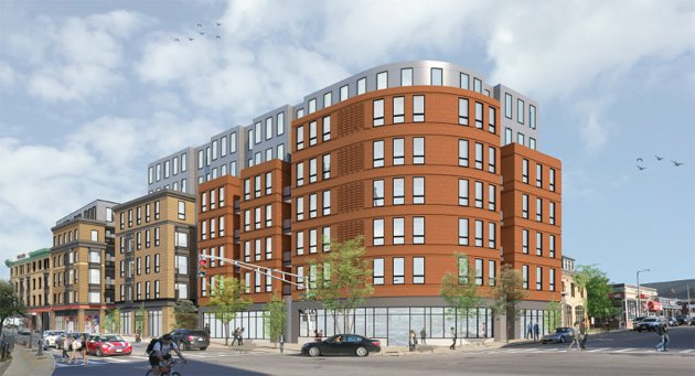 Architect's rendering of the new corner of Harvard Avenue and Cambridge Street, with birds