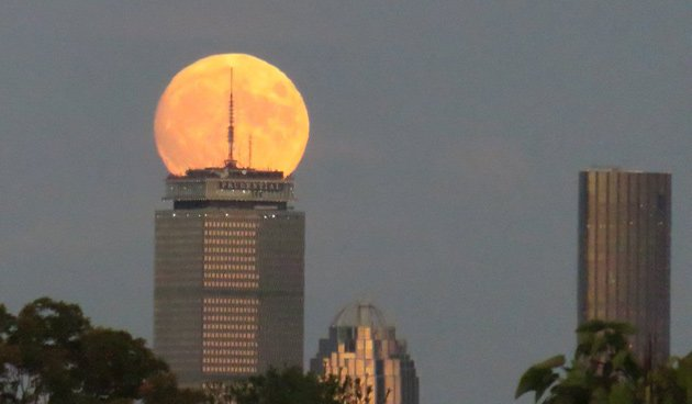 Harvest moon over the Prudential building