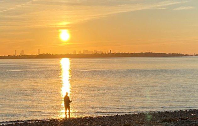 Fishing at sunset at Hull Gut