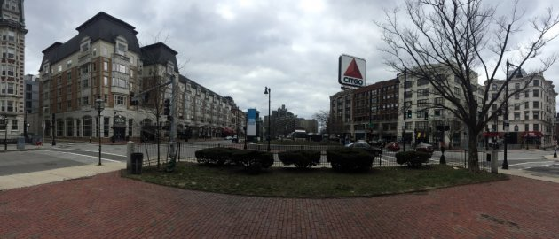 An empty Kenmore Square on Tuesday afternoon.