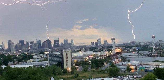 Lightning over East Boston