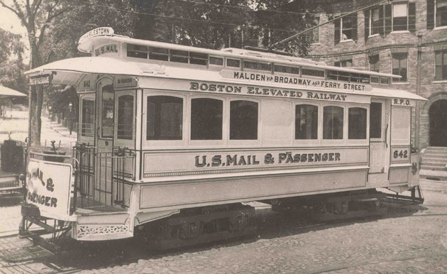 A Boston mail trolley