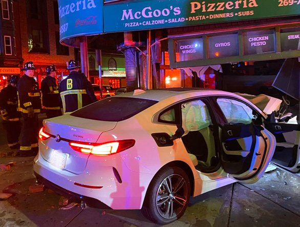 Car that slammed into pizza place on Broadway in South Boston